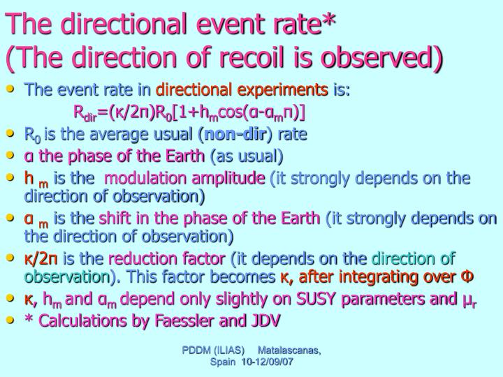 The directional event rate*