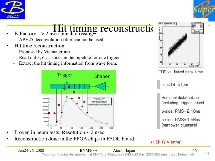Hit timing reconstruction
