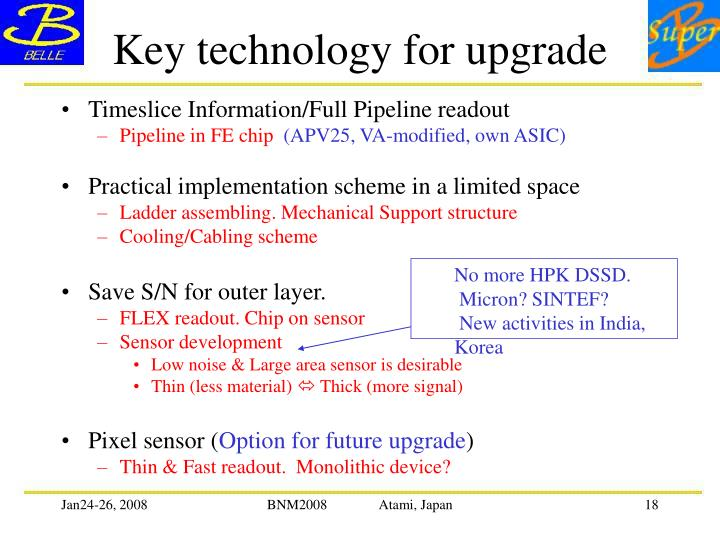 Key technology for upgrade
