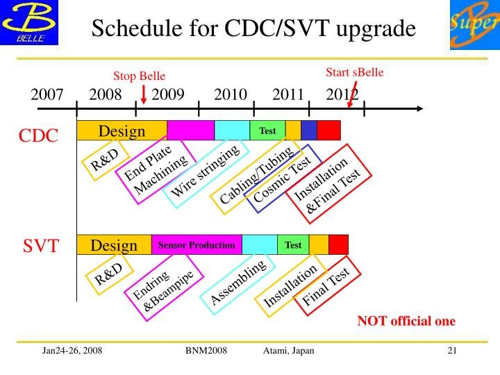 Schedule for CDC/SVT upgrade