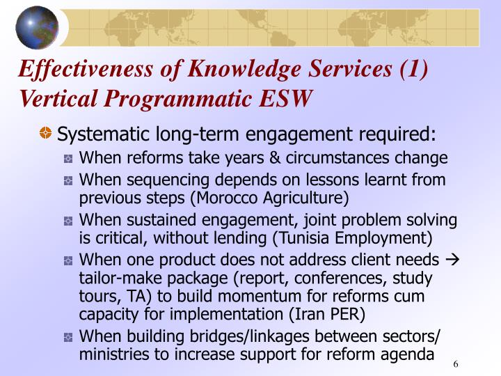 Effectiveness of Knowledge Services (1) Vertical Programmatic ESW