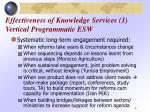 effectiveness of knowledge services 1 vertical programmatic esw