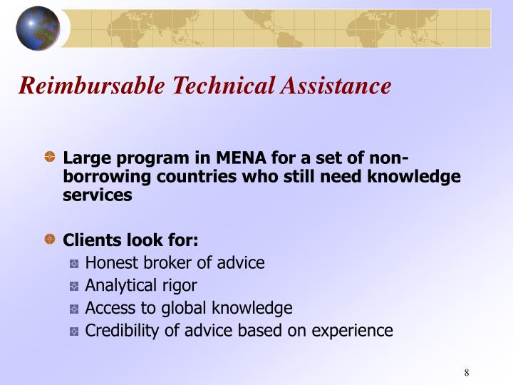 Reimbursable Technical Assistance