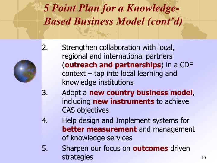 5 Point Plan for a Knowledge-Based Business Model (cont'd)