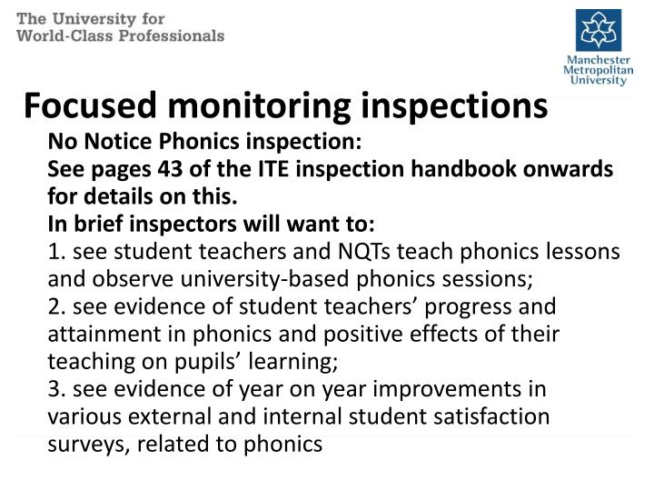 Focused monitoring inspections