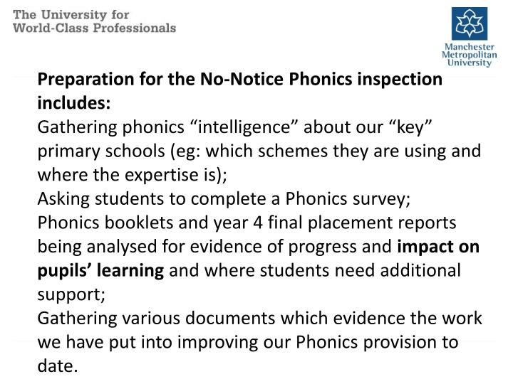 Preparation for the No-Notice Phonics inspection includes: