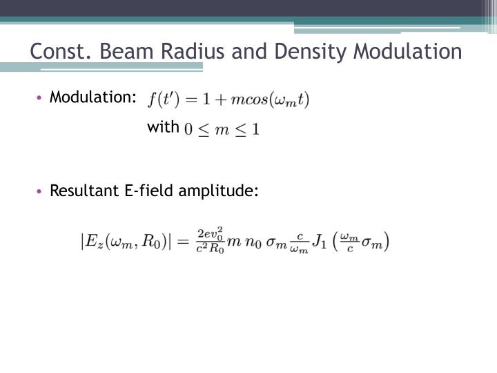 Const. Beam Radius and Density Modulation