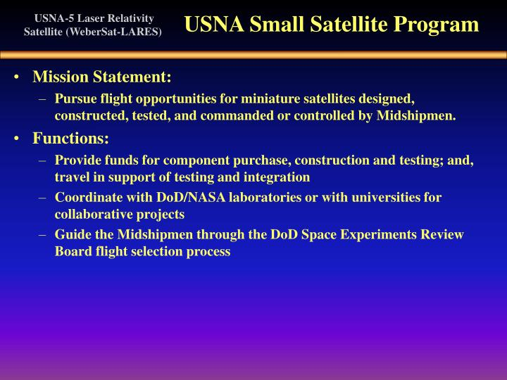 USNA Small Satellite Program