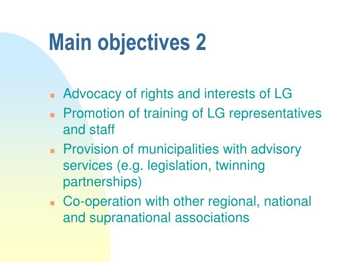 Main objectives 2