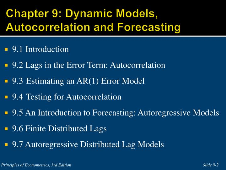 Chapter 9 dynamic models autocorrelation and forecasting