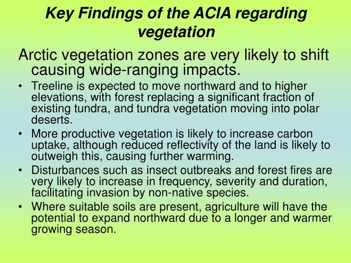 Key Findings of the ACIA regarding vegetation