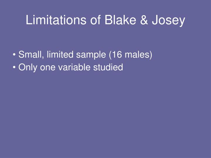 Limitations of Blake & Josey