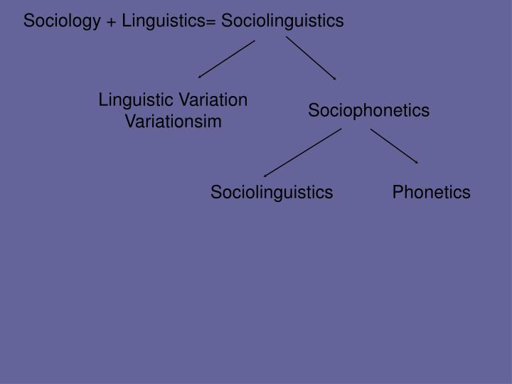 Sociology + Linguistics= Sociolinguistics