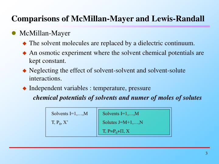 Comparisons of mcmillan mayer and lewis randall