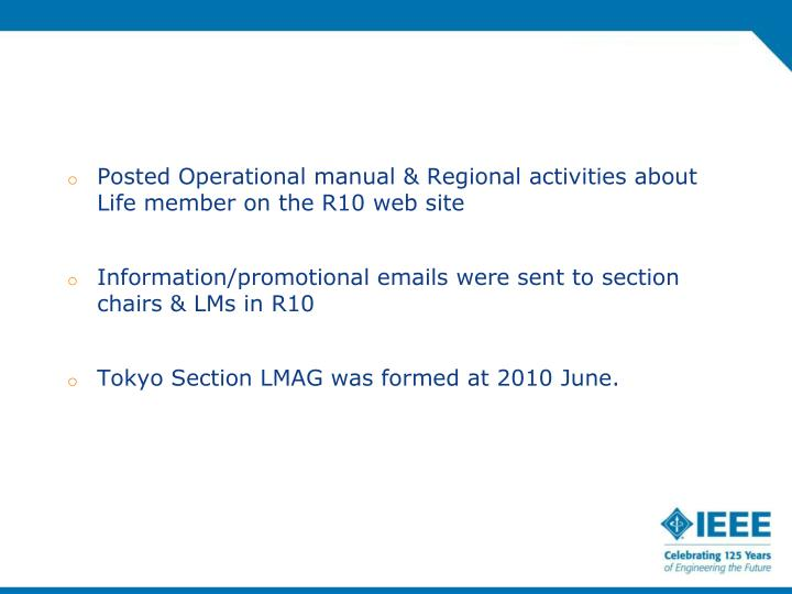 Posted Operational manual & Regional activities about Life member on the R10 web site