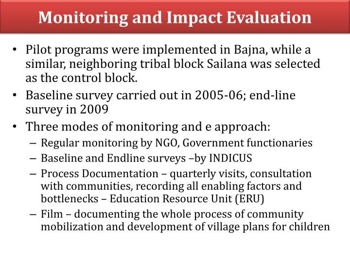 Monitoring and Impact Evaluation