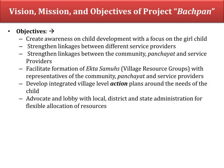 Vision, Mission, and Objectives of Project ""