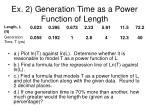 ex 2 generation time as a power function of length