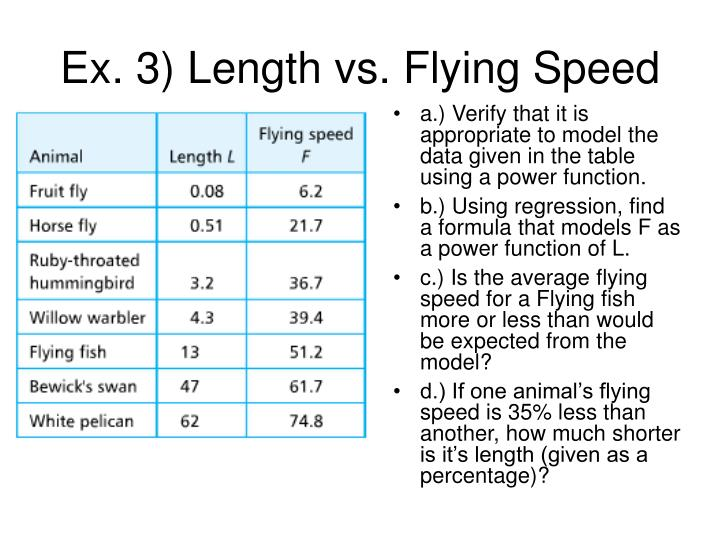 Ex. 3) Length vs. Flying Speed