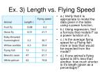 ex 3 length vs flying speed