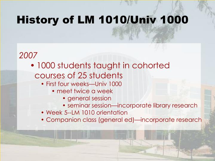 History of LM 1010/Univ 1000