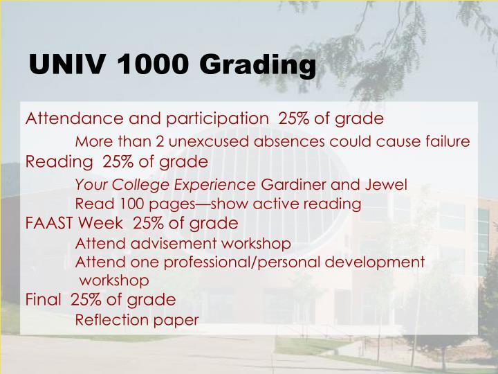 UNIV 1000 Grading