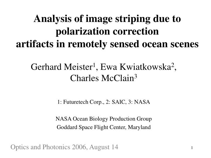 Analysis of image striping due to polarization correction artifacts in remotely sensed ocean scenes