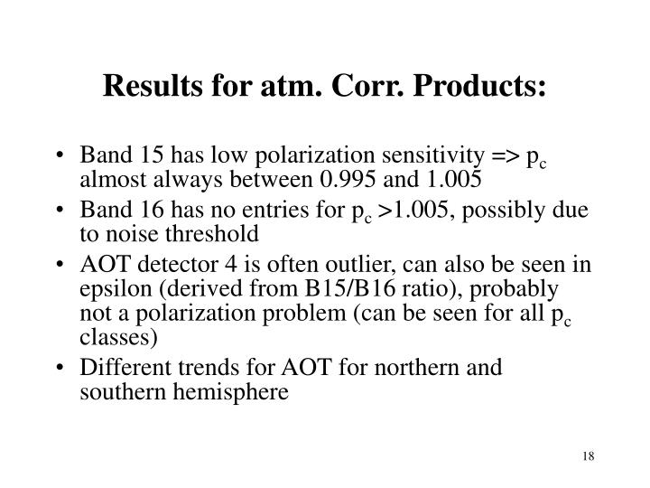 Results for atm. Corr. Products:
