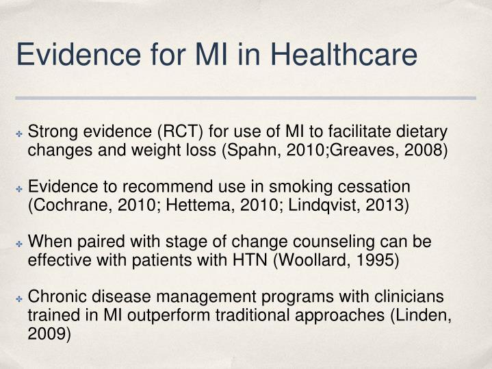 Evidence for MI in Healthcare