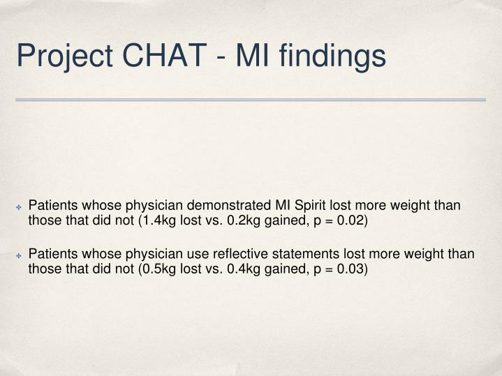 Project CHAT - MI findings