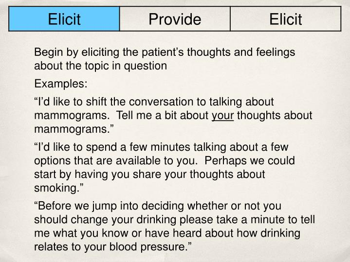 Begin by eliciting the patient's thoughts and feelings about the topic in question