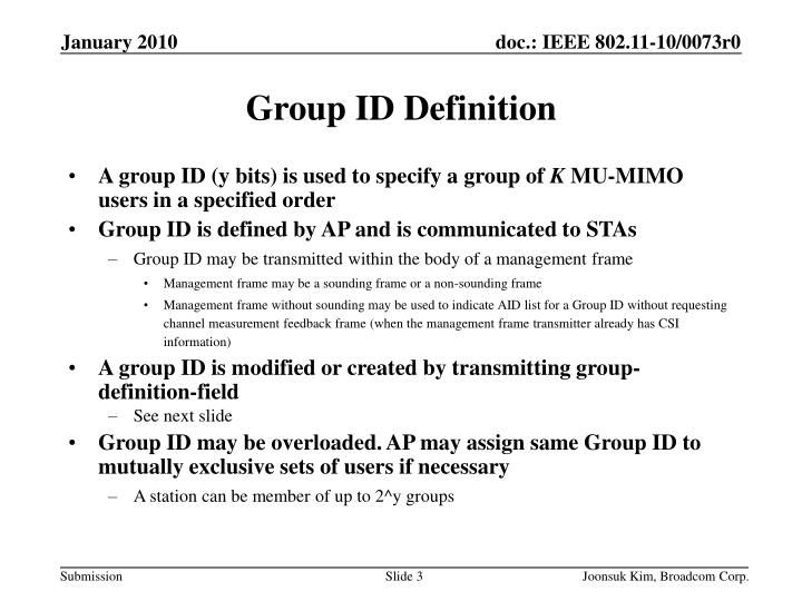 Group id definition