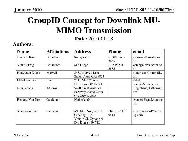 Groupid concept for downlink mu mimo transmission