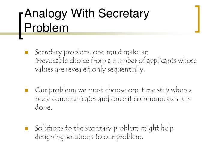 Analogy With Secretary Problem