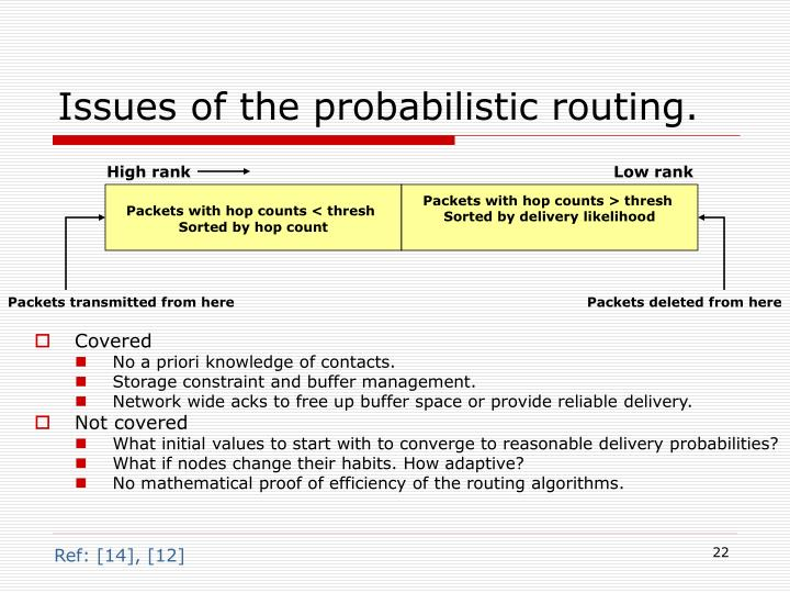 Issues of the probabilistic routing.