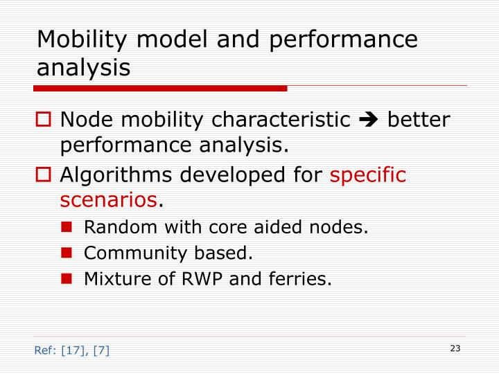 Mobility model and performance analysis