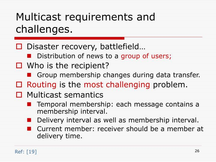 Multicast requirements and challenges.
