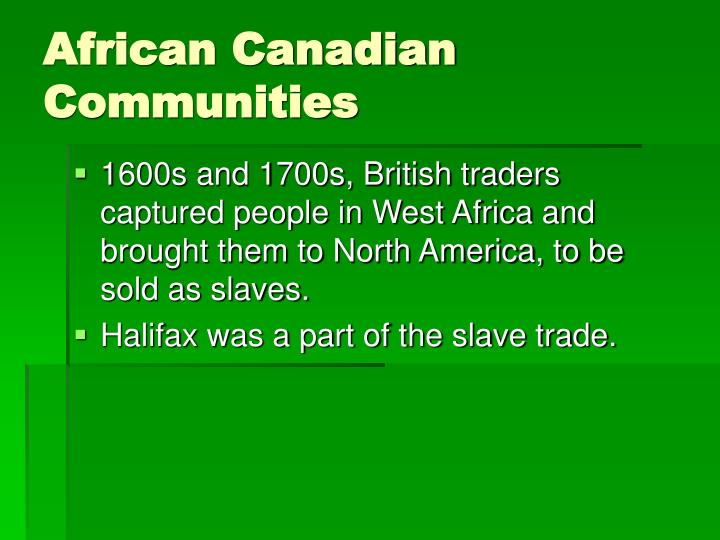 African Canadian Communities
