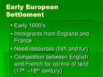 early european settlement