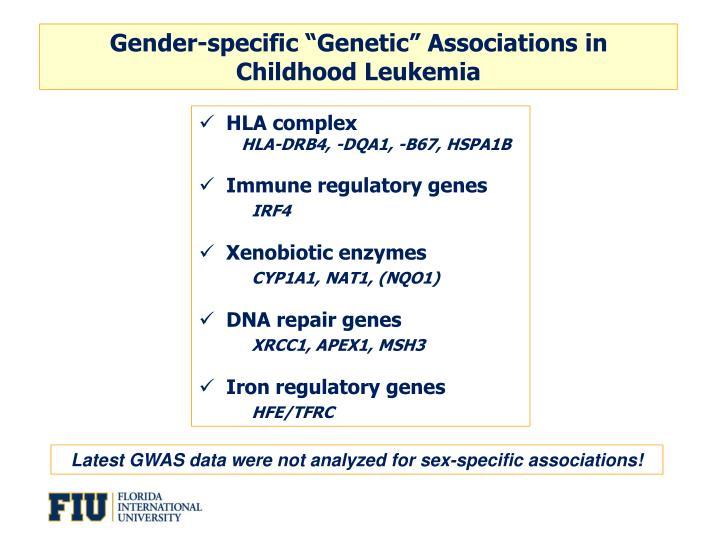 "Gender-specific ""Genetic"" Associations in"
