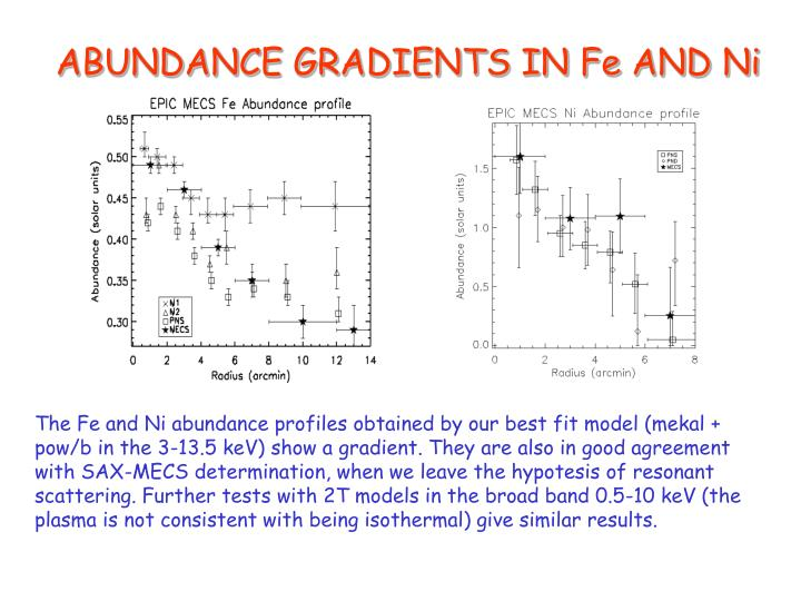 ABUNDANCE GRADIENTS IN Fe AND Ni