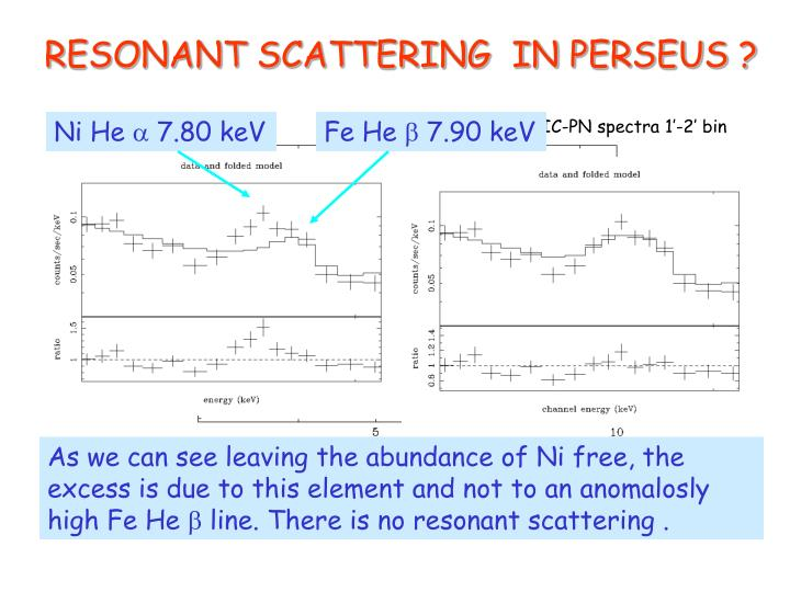 RESONANT SCATTERING  IN PERSEUS ?