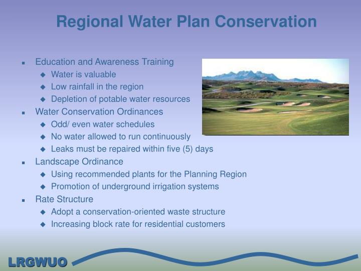 Regional Water Plan Conservation