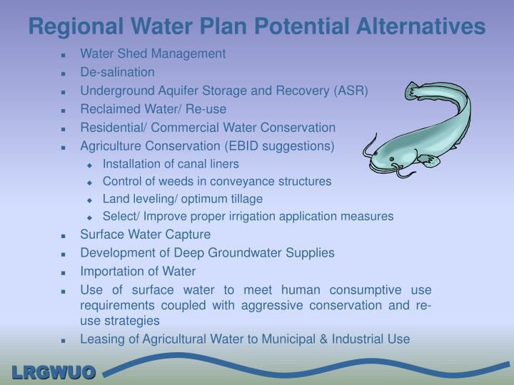 Regional Water Plan Potential Alternatives