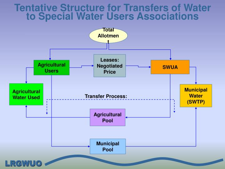Tentative Structure for Transfers of Water to Special Water Users Associations