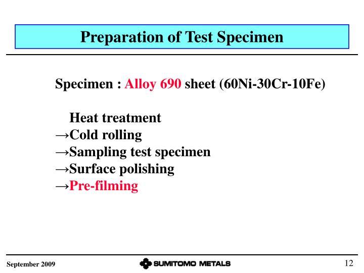 Preparation of Test Specimen