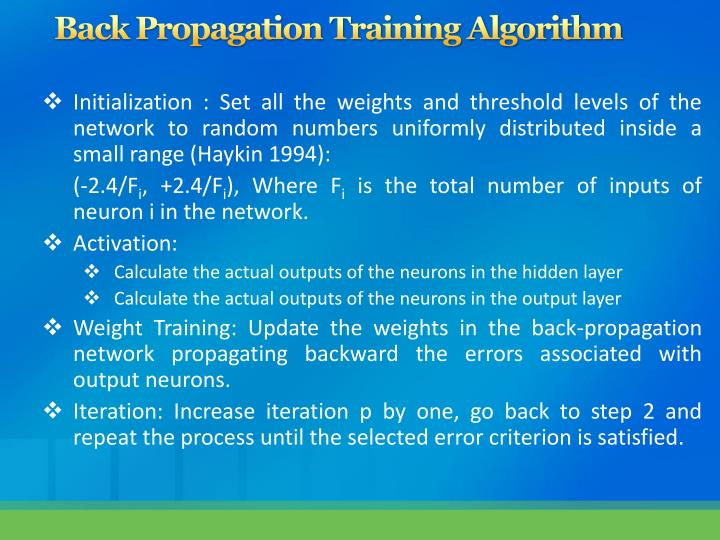 Back Propagation Training Algorithm