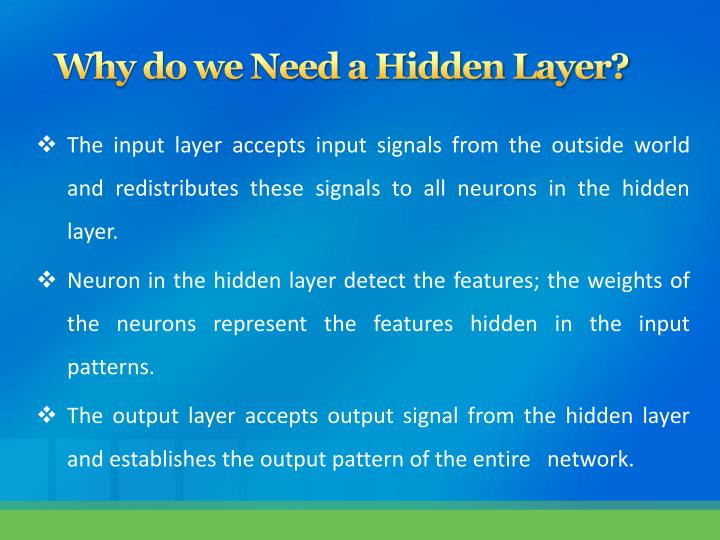 Why do we Need a Hidden Layer?