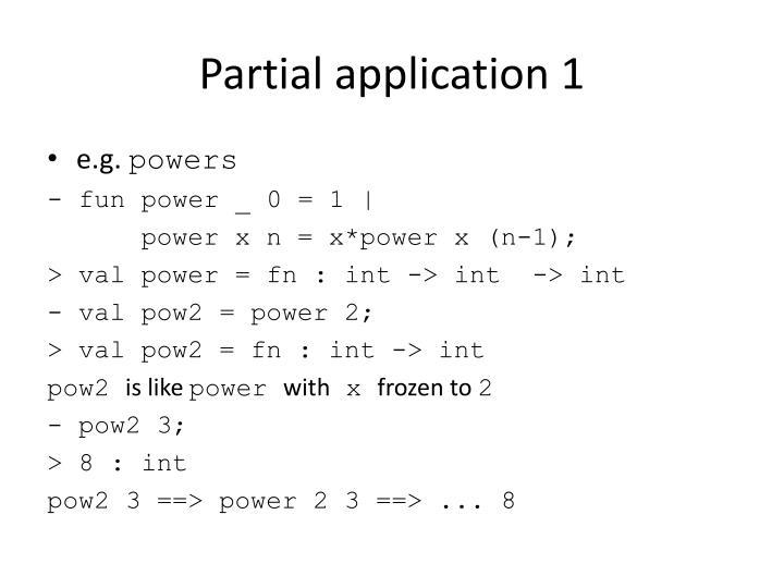 Partial application 1