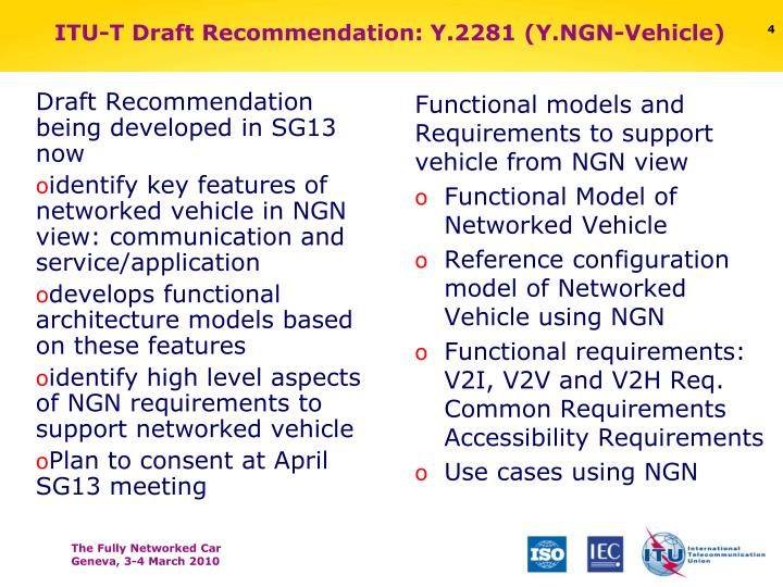 Draft Recommendation being developed in SG13 now